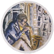 Sax Player, 1998 Wc On Paper Round Beach Towel