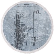 Saxophone Patent Cool Blue Round Beach Towel by Dan Sproul