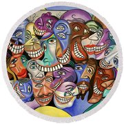 Round Beach Towel featuring the painting Say Cheese by Anthony Falbo