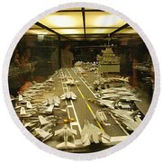 Scale Model Aircraft Carrier Round Beach Towel