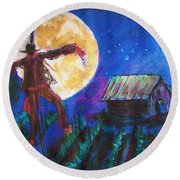 Scarecrow Dancing With The Moon Round Beach Towel by Seth Weaver