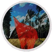 Scarf In The Winds Round Beach Towel