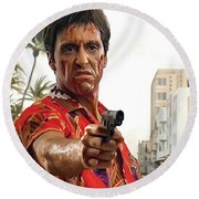 Round Beach Towel featuring the painting Scarface Artwork 2 by Sheraz A