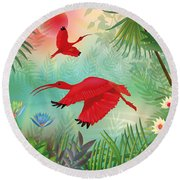 Scarlet Corocoro - Limited Edition 1 Of 20 Round Beach Towel by Gabriela Delgado