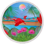 Scarlet Party - Limited Edition 1 Of 20 Round Beach Towel by Gabriela Delgado
