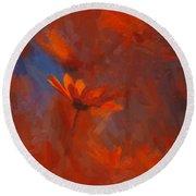 Scarlet Petals  Round Beach Towel by Paul Davenport