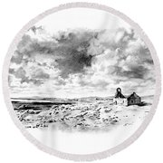 Round Beach Towel featuring the drawing Bleak Chapel by Paul Davenport