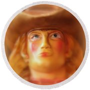 Round Beach Towel featuring the photograph Scary Cowgirl by Lynn Sprowl