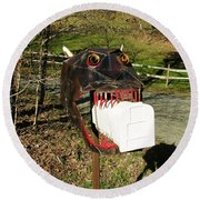 Round Beach Towel featuring the photograph Scary Mailbox 2 by Sherman Perry