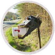 Round Beach Towel featuring the photograph Scary Mailbox by Sherman Perry