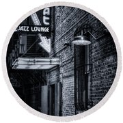 Scat Lounge In Cool Black And White Round Beach Towel by Joan Carroll