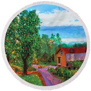 Round Beach Towel featuring the painting Scene From Giverny by Deborah Boyd