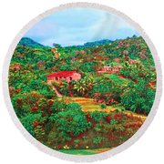 Scene From Mahogony Bay Honduras Round Beach Towel