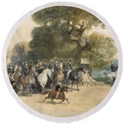 Scene In Hyde Park Round Beach Towel by Eugene-Louis Lami