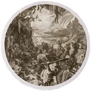 Scene Of Hell, 1731 Round Beach Towel