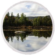 Scenic Lily Pond Round Beach Towel