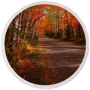 Scenic Maple Drive Round Beach Towel by James Peterson