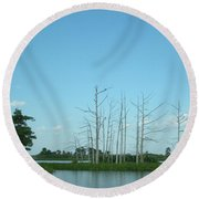 Round Beach Towel featuring the photograph Scenic Swamp Cypress Trees by Joseph Baril