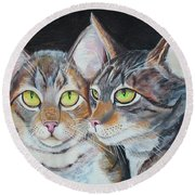 Round Beach Towel featuring the painting Scheming Cats by Thomas J Herring