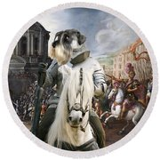 Schnauzer Art - A Siege The Sack Of Rome   Round Beach Towel