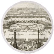 Schonbrunn Palace In Vienna Round Beach Towel