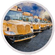 School Bus Lot Painterly Round Beach Towel