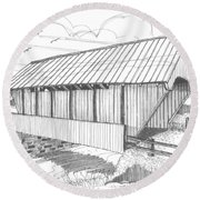 School House Covered Bridge Round Beach Towel