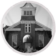 Round Beach Towel featuring the photograph School House by Michael Krek