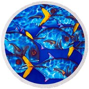 Schooling  Jack Fish Round Beach Towel