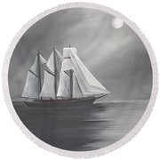 Round Beach Towel featuring the painting Schooner Moon by Virginia Coyle