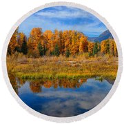 Schwabacher Autumn Reflections Panorama Round Beach Towel