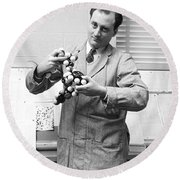 Scientist With Molecule Model Round Beach Towel