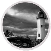 Scituate Lighthouse Under A Stormy Sky Round Beach Towel by Jeff Folger