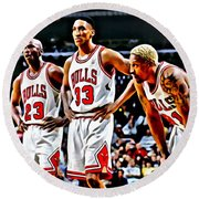 Scottie Pippen With Michael Jordan And Dennis Rodman Round Beach Towel