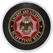 Scottish Rite Double-headed Eagle On Black Leather Round Beach Towel