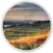 Scottish Style Links In September - Chambers Bay Golf Course Round Beach Towel