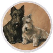 Round Beach Towel featuring the painting Scottish Terrier by Christopher Gifford Ambler