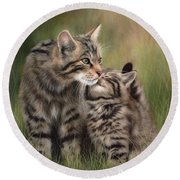 Scottish Wildcats Painting - In Support Of The Scottish Wildcat Haven Project Round Beach Towel