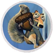 Scrat Of Ice Age Round Beach Towel