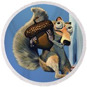 Scrat Of Ice Age Round Beach Towel by Paul Meijering