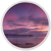 Scripps Pier Colors Round Beach Towel