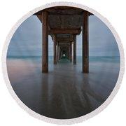 Scripps Pier Soft Blue Round Beach Towel
