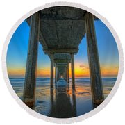 Scripps Pier Sunset Round Beach Towel by Michael Ver Sprill