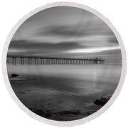 Scripps Pier Twilight - Black And White Round Beach Towel