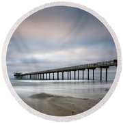 Scripps Pier Wide -lrg Print Round Beach Towel