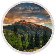 Scripture And Picture Isaiah 55 12 Round Beach Towel