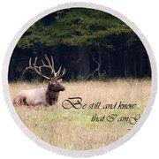 Scripture Photo With Elk Sitting Round Beach Towel