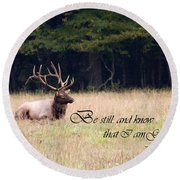 Scripture Photo With Elk Sitting Round Beach Towel