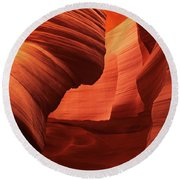 Round Beach Towel featuring the photograph Sculpted Sandstone Upper Antelope Slot Canyon Arizona by Dave Welling