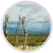 Sculpture In The Andes Round Beach Towel